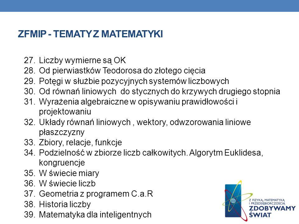 ZFMiP - Tematy z matematyki