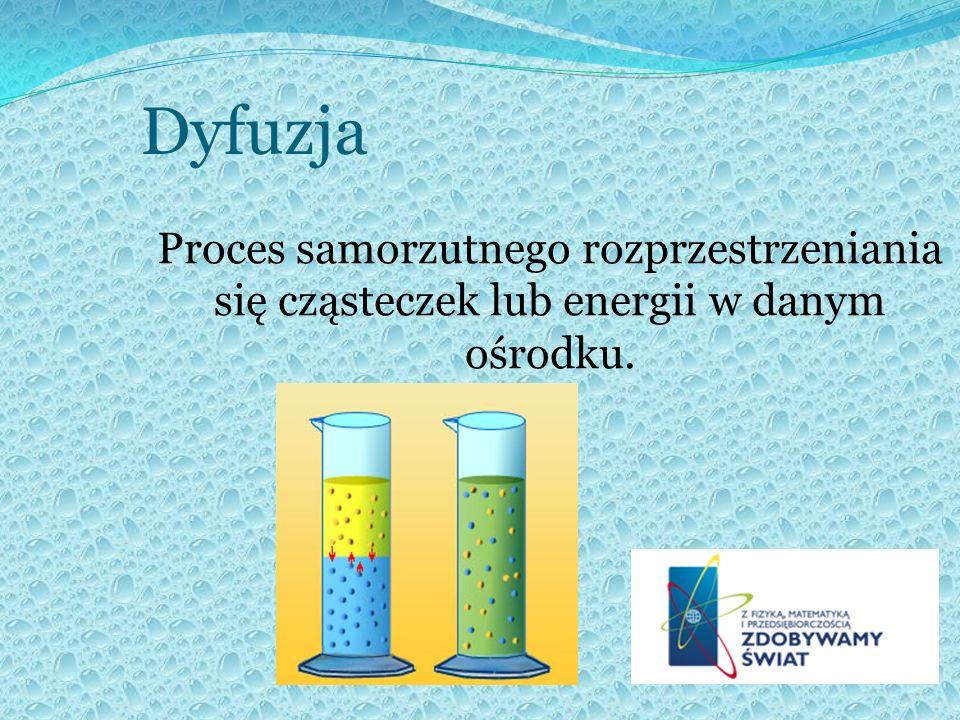 Dyfuzja Proces samorzutnego rozprzestrzeniania się cząsteczek lub energii w danym ośrodku.