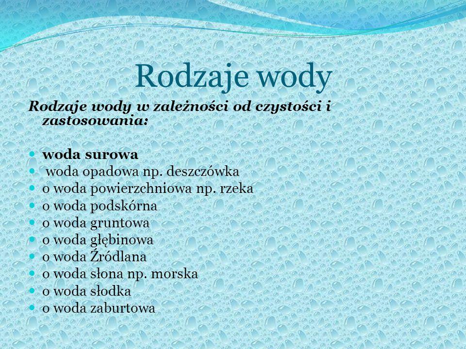 Rodzaje wody Rodzaje wody w zależności od czystości i zastosowania: