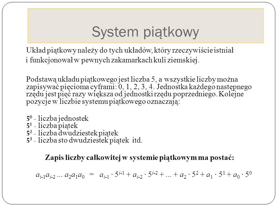 Zapis liczby całkowitej w systemie piątkowym ma postać: