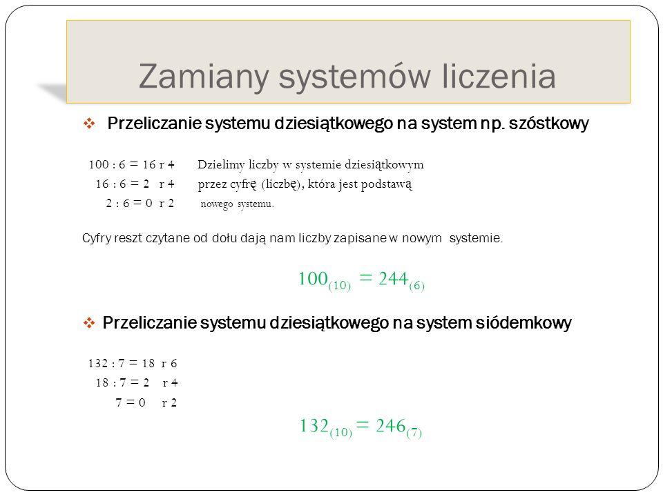 Zamiany systemów liczenia