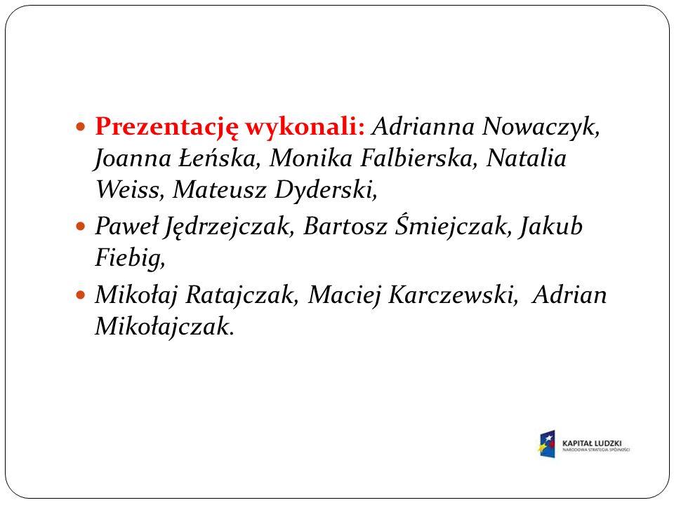 Prezentację wykonali: Adrianna Nowaczyk, Joanna Łeńska, Monika Falbierska, Natalia Weiss, Mateusz Dyderski,