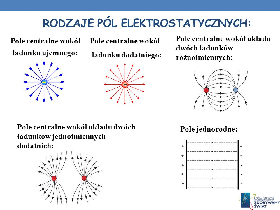 Rodzaje pól elektrostatycznych: