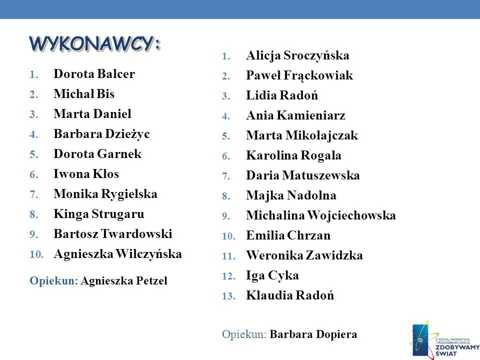 WYKONAWCY: Alicja Sroczyńska Paweł Frąckowiak Dorota Balcer