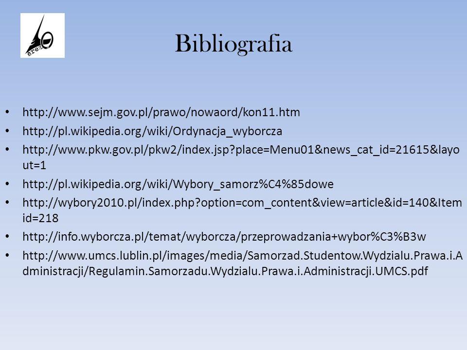 Bibliografia http://www.sejm.gov.pl/prawo/nowaord/kon11.htm