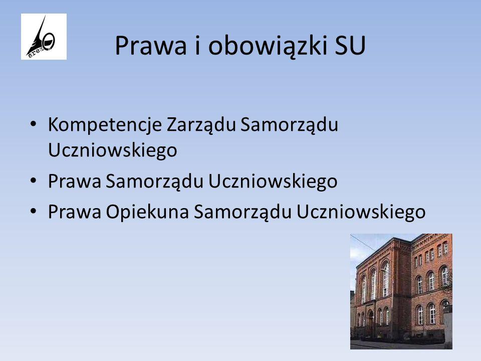 Prawa i obowiązki SU Kompetencje Zarządu Samorządu Uczniowskiego