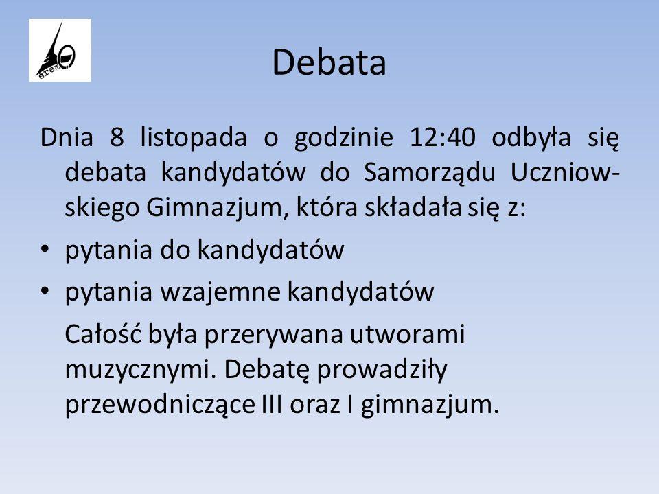 Debata Dnia 8 listopada o godzinie 12:40 odbyła się debata kandydatów do Samorządu Uczniow-skiego Gimnazjum, która składała się z: