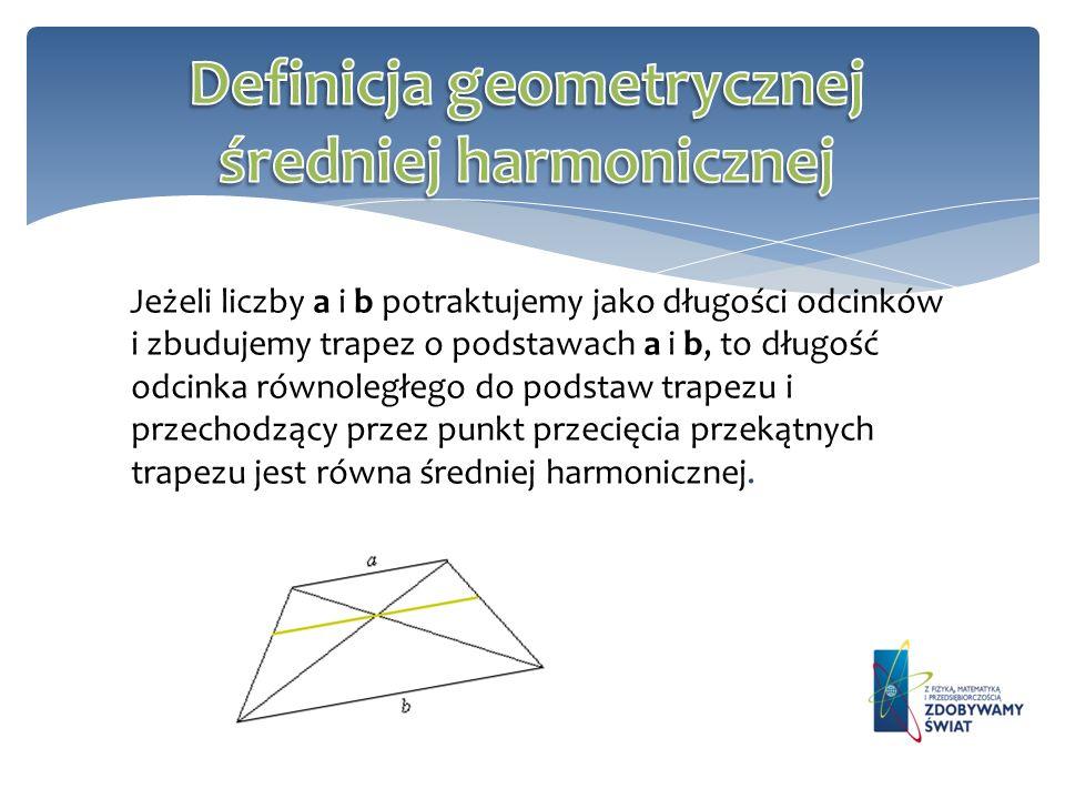 Definicja geometrycznej średniej harmonicznej