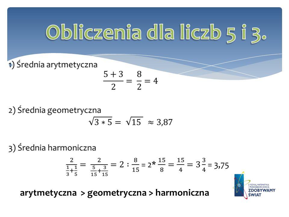 Obliczenia dla liczb 5 i 3. arytmetyczna > geometryczna > harmoniczna