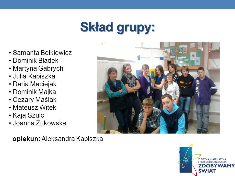 Skład grupy: Samanta Belkiewicz Dominik Błądek Martyna Gabrych