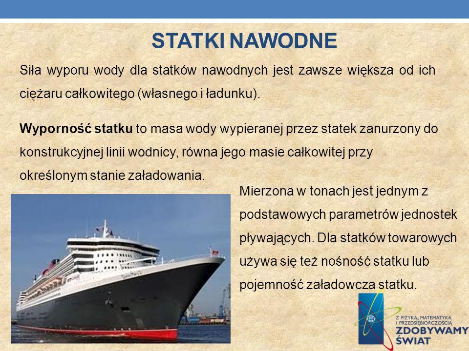 STATKI NAWODNE Siła wyporu wody dla statków nawodnych jest zawsze większa od ich ciężaru całkowitego (własnego i ładunku).