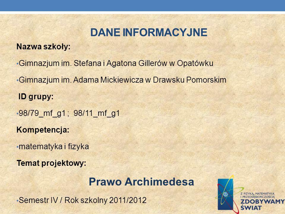 Dane INFORMACYJNE Prawo Archimedesa Nazwa szkoły: