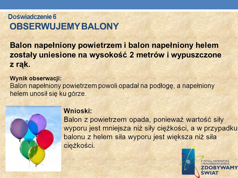 Doświadczenie 6 Obserwujemy balony