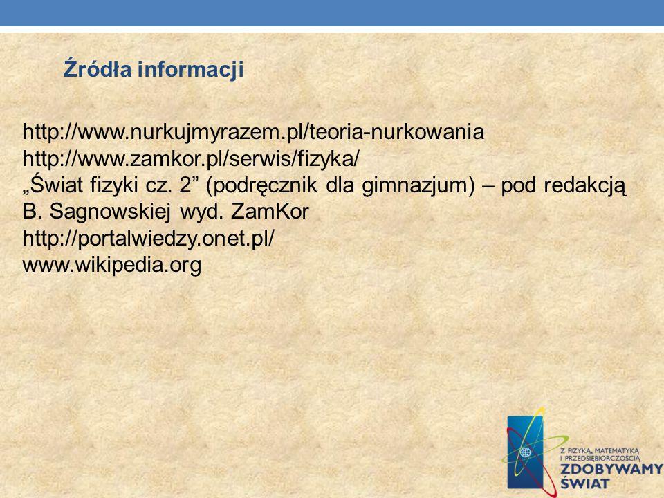 Źródła informacji http://www.nurkujmyrazem.pl/teoria-nurkowania. http://www.zamkor.pl/serwis/fizyka/