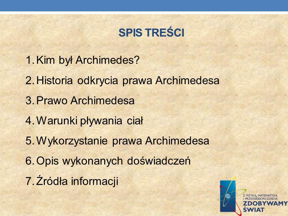 Spis Treści Kim był Archimedes Historia odkrycia prawa Archimedesa. Prawo Archimedesa. Warunki pływania ciał.