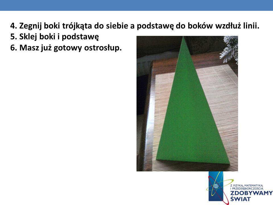 4. Zegnij boki trójkąta do siebie a podstawę do boków wzdłuż linii.