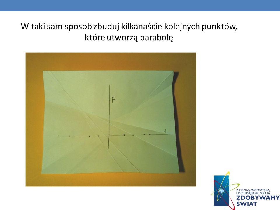 W taki sam sposób zbuduj kilkanaście kolejnych punktów, które utworzą parabolę