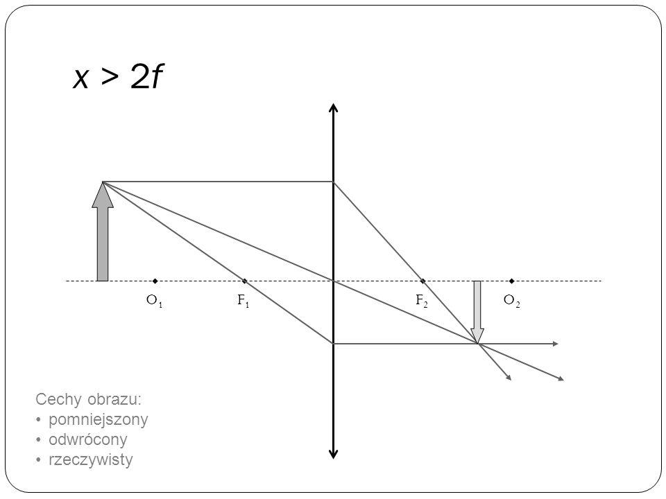 x > 2f O1 F1 F2 O2 Cechy obrazu: pomniejszony odwrócony rzeczywisty