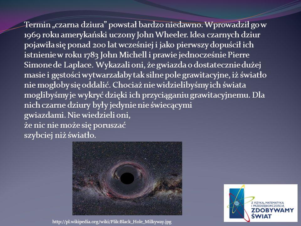 """Termin """"czarna dziura powstał bardzo niedawno"""