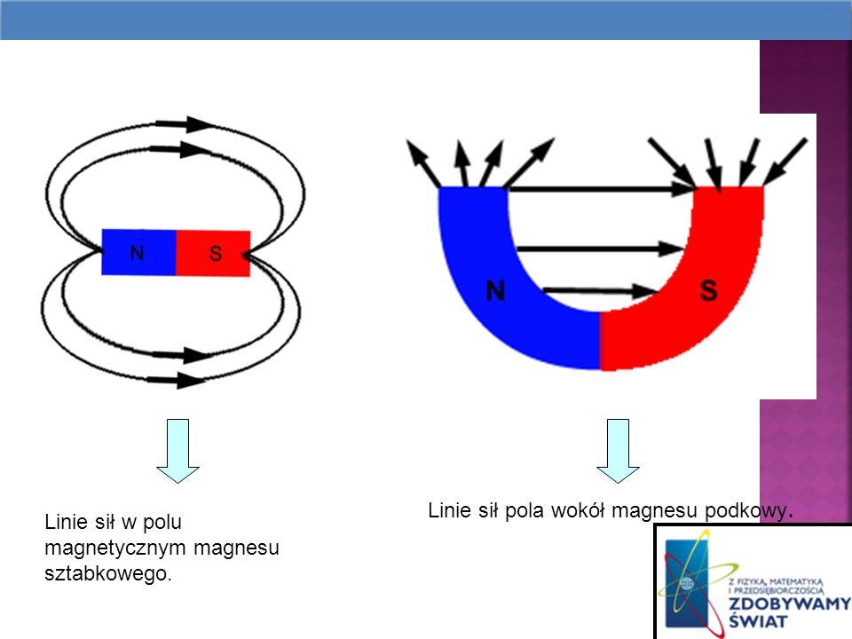 Linie sił pola wokół magnesu podkowy.