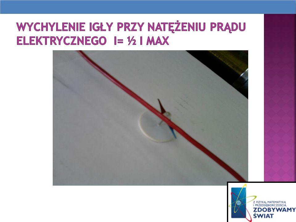 Wychylenie igły przy natężeniu prądu elektrycznego I= ½ I max