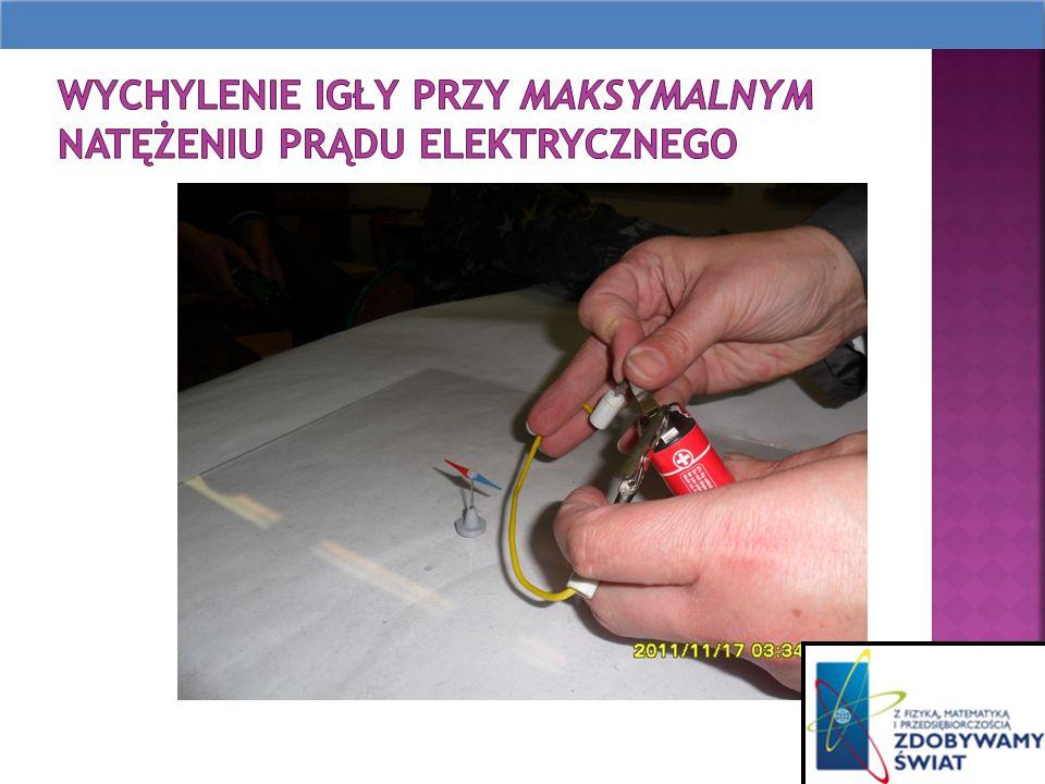 Wychylenie igły przy maksymalnym natężeniu prądu elektrycznego