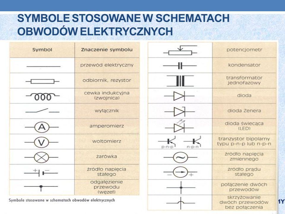 Symbole stosowane w schematach obwodów elektrycznych