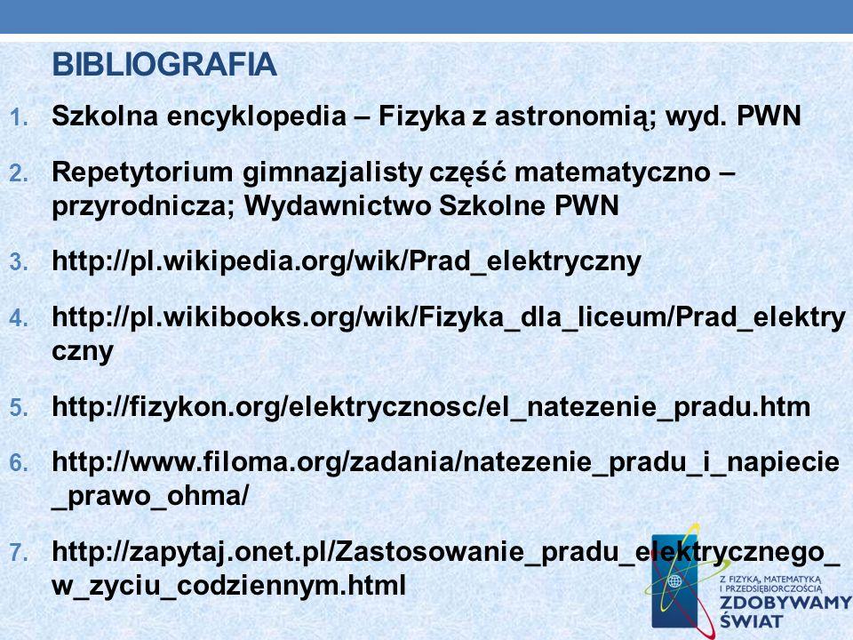 Bibliografia Szkolna encyklopedia – Fizyka z astronomią; wyd. PWN