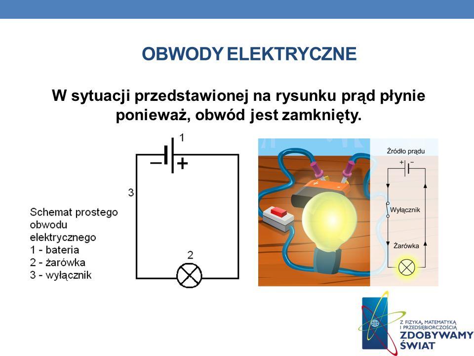 Obwody elektryczne W sytuacji przedstawionej na rysunku prąd płynie ponieważ, obwód jest zamknięty.