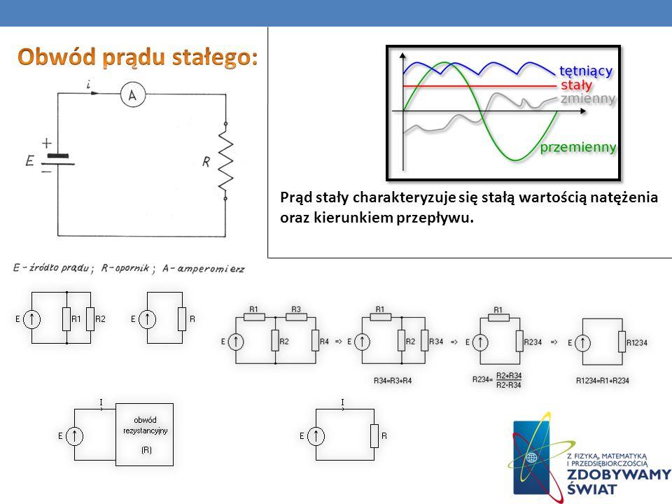 Obwód prądu stałego: Prąd stały charakteryzuje się stałą wartością natężenia oraz kierunkiem przepływu.