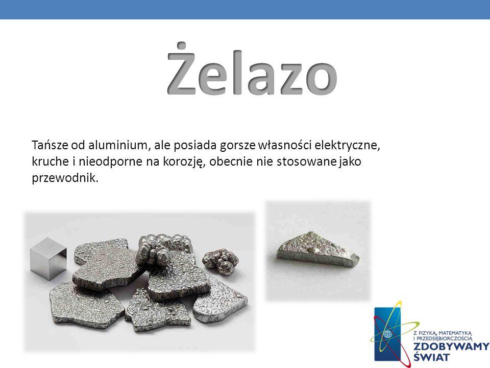 Żelazo Tańsze od aluminium, ale posiada gorsze własności elektryczne, kruche i nieodporne na korozję, obecnie nie stosowane jako przewodnik.