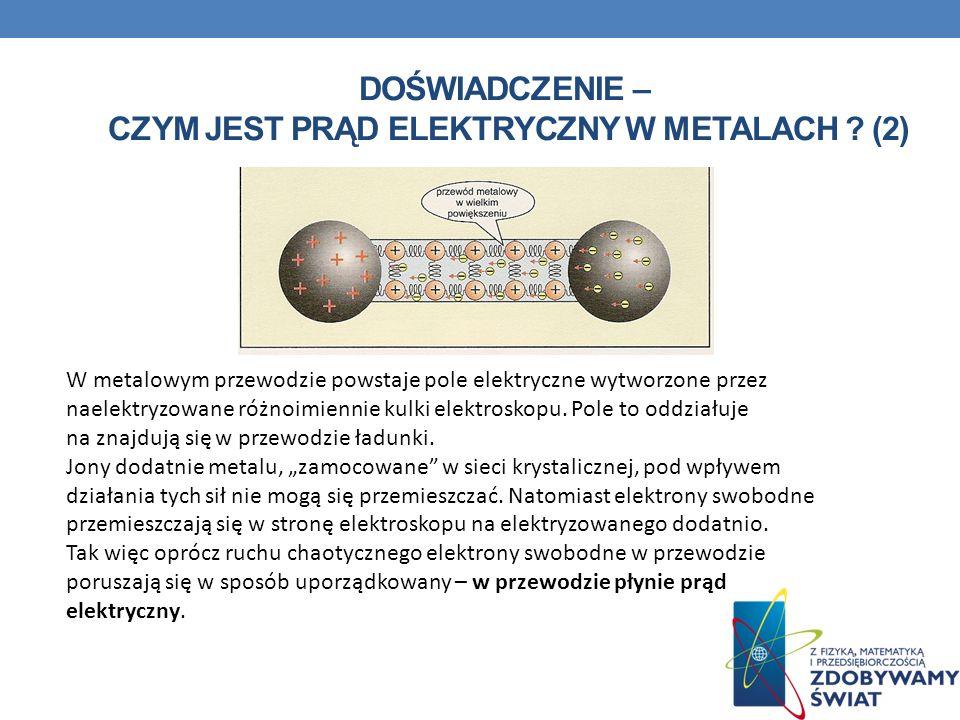 Doświadczenie – czym jest prąd elektryczny w metalach (2)
