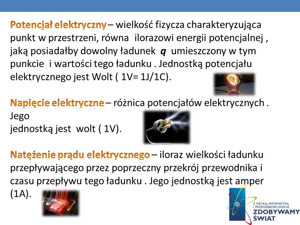 Potencjał elektryczny – wielkość fizycza charakteryzująca punkt w przestrzeni, równa ilorazowi energii potencjalnej , jaką posiadałby dowolny ładunek q umieszczony w tym punkcie i wartości tego ładunku . Jednostką potencjału elektrycznego jest Wolt ( 1V= 1J/1C).