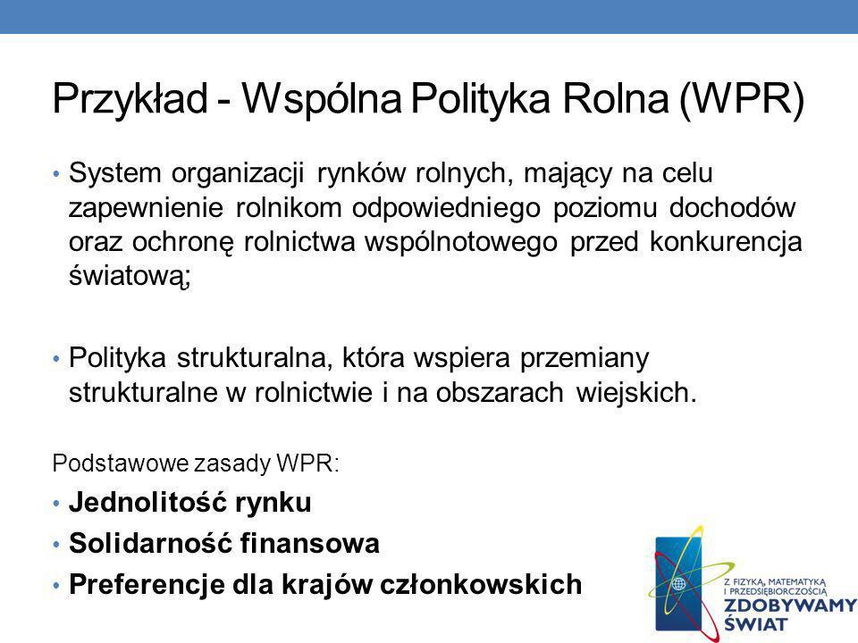 Przykład - Wspólna Polityka Rolna (WPR)