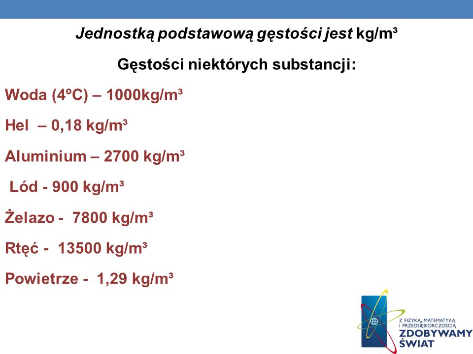 Jednostką podstawową gęstości jest kg/m³ Gęstości niektórych substancji: Woda (4ºC) – 1000kg/m³ Hel – 0,18 kg/m³ Aluminium – 2700 kg/m³ Lód - 900 kg/m³ Żelazo - 7800 kg/m³ Rtęć - 13500 kg/m³ Powietrze - 1,29 kg/m³