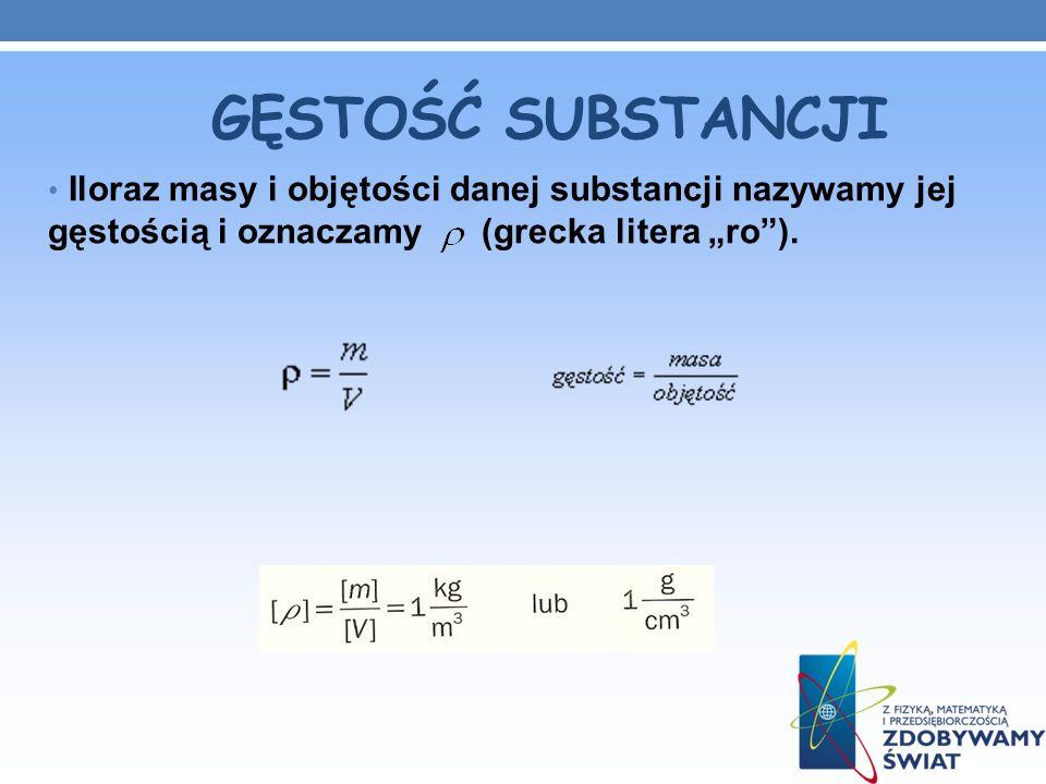 """GĘSTOŚĆ SUBSTANCJI Iloraz masy i objętości danej substancji nazywamy jej gęstością i oznaczamy (grecka litera """"ro )."""