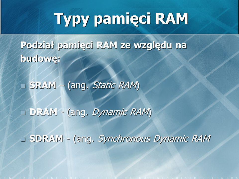 Typy pamięci RAM Podział pamięci RAM ze względu na budowę: