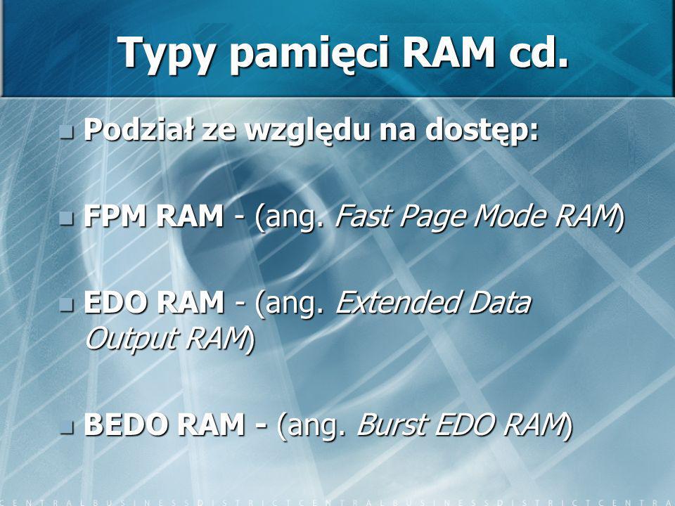Typy pamięci RAM cd. Podział ze względu na dostęp:
