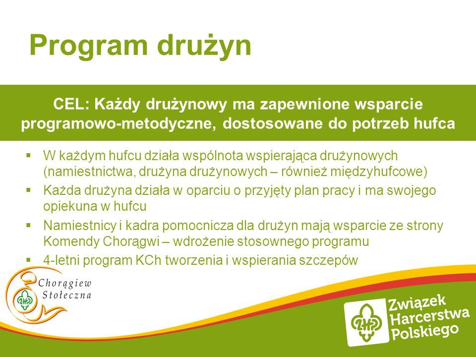 Program drużyn CEL: Każdy drużynowy ma zapewnione wsparcie programowo-metodyczne, dostosowane do potrzeb hufca.