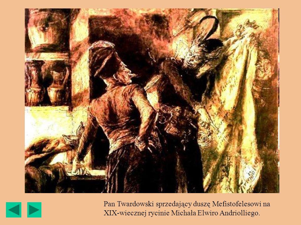 Pan Twardowski sprzedający duszę Mefistofelesowi na XIX-wiecznej rycinie Michała Elwiro Andriolliego.