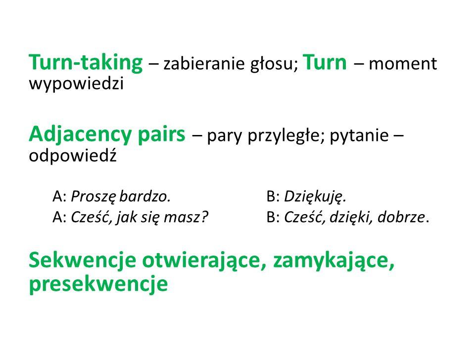 Turn-taking – zabieranie głosu; Turn – moment wypowiedzi