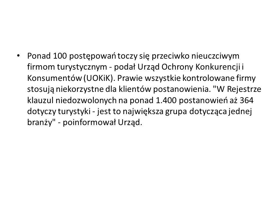 Ponad 100 postępowań toczy się przeciwko nieuczciwym firmom turystycznym - podał Urząd Ochrony Konkurencji i Konsumentów (UOKiK).