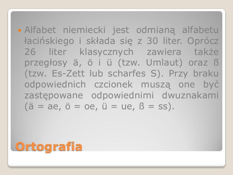 Alfabet niemiecki jest odmianą alfabetu łacińskiego i składa się z 30 liter. Oprócz 26 liter klasycznych zawiera także przegłosy ä, ö i ü (tzw. Umlaut) oraz ß (tzw. Es-Zett lub scharfes S). Przy braku odpowiednich czcionek muszą one być zastępowane odpowiednimi dwuznakami (ä = ae, ö = oe, ü = ue, ß = ss).