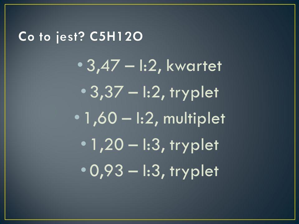 3,47 – I:2, kwartet 3,37 – I:2, tryplet 1,60 – I:2, multiplet