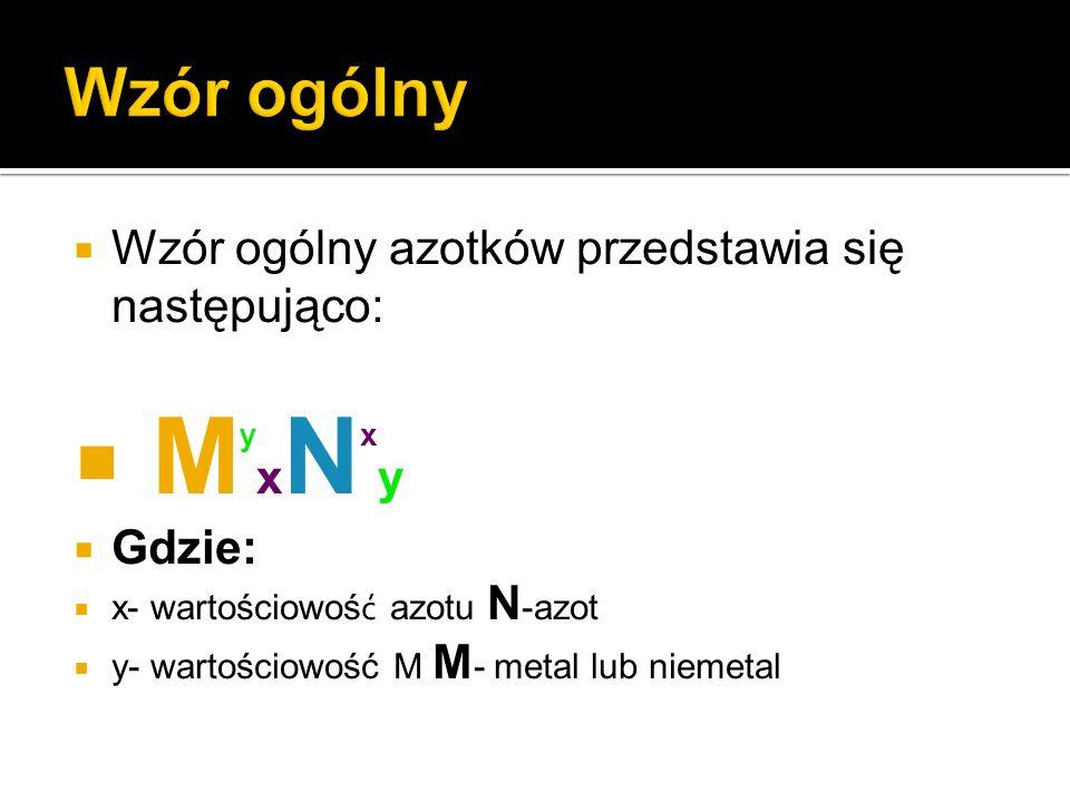 MyxNxy Wzór ogólny Wzór ogólny azotków przedstawia się następująco: