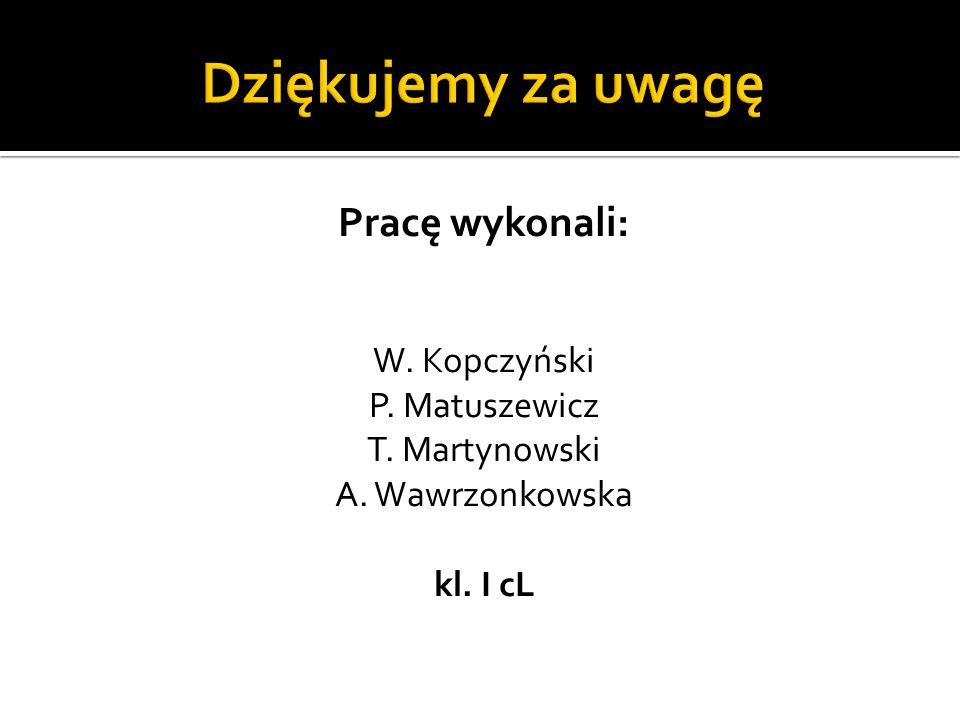 Dziękujemy za uwagę Pracę wykonali: W. Kopczyński P. Matuszewicz