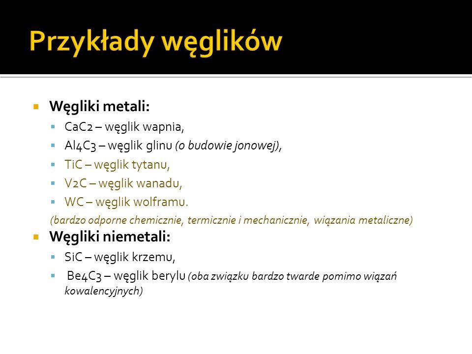 Przykłady węglików Węgliki metali: Węgliki niemetali: