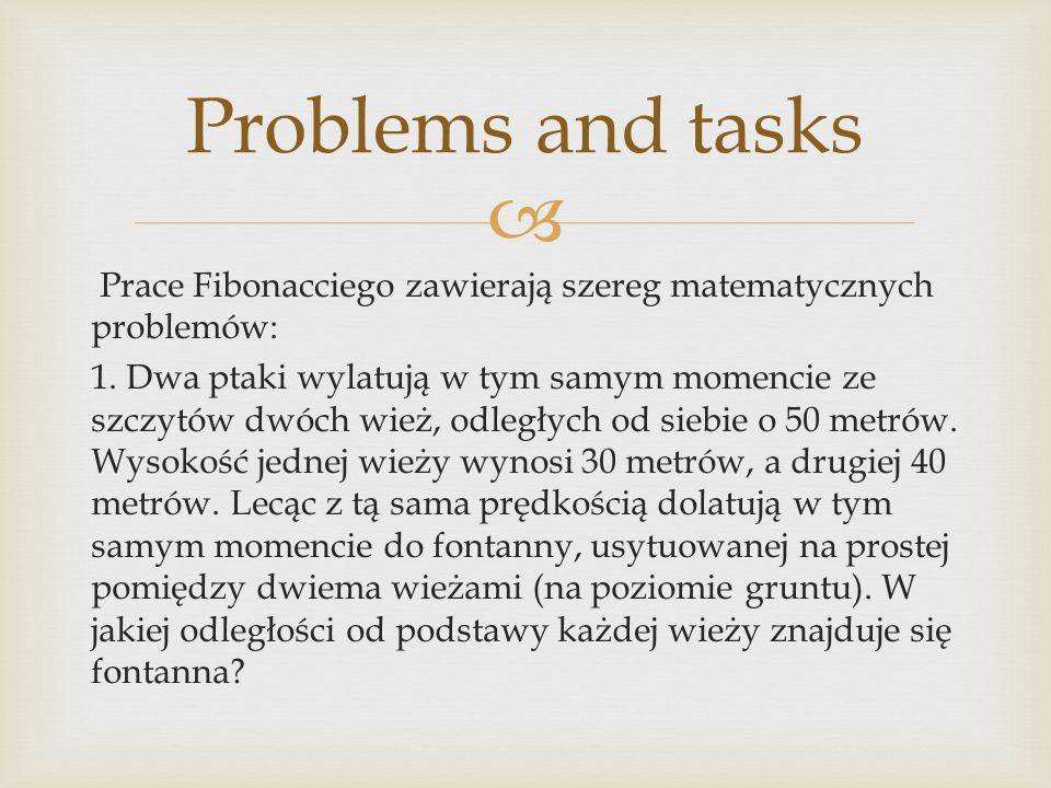 Problems and tasks