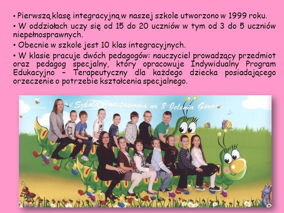 Obecnie w szkole jest 10 klas integracyjnych.