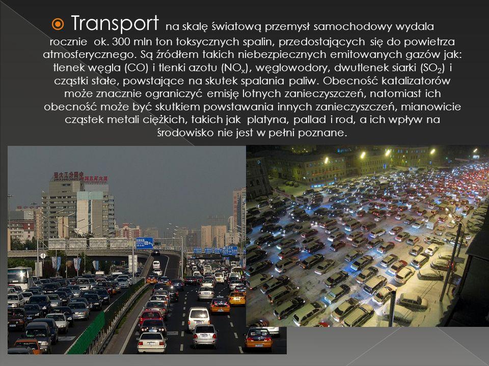 Transport na skalę światową przemysł samochodowy wydala rocznie ok